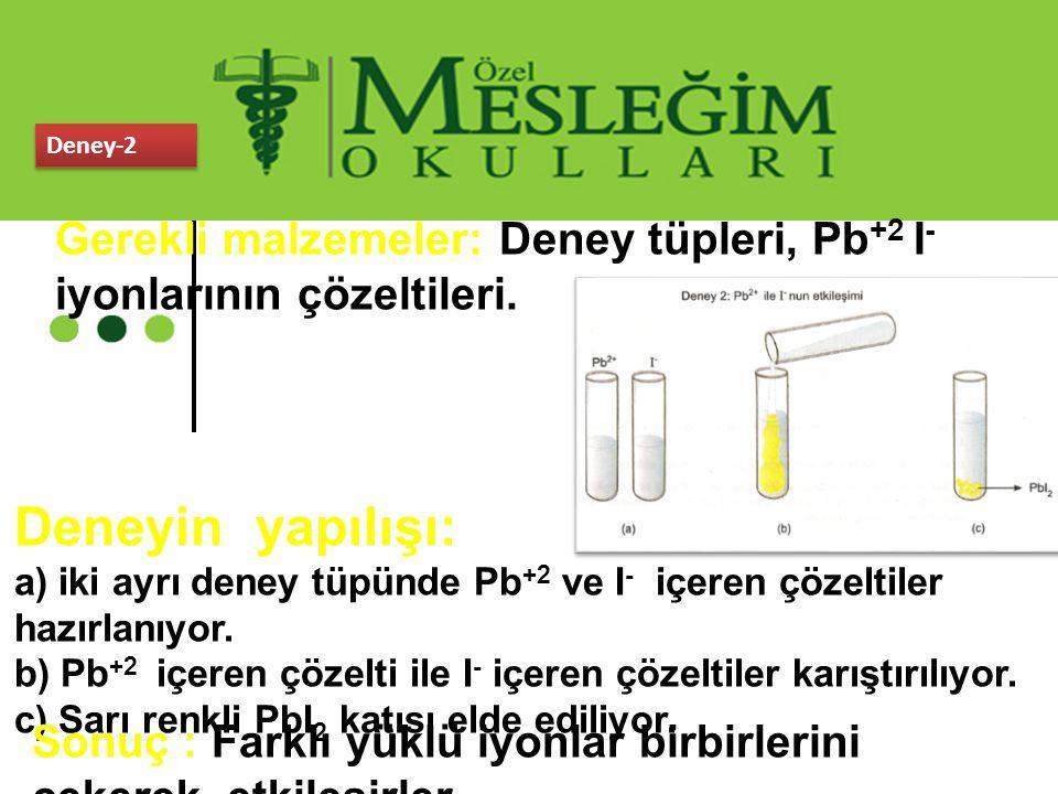Deney-2 Gerekli malzemeler: Deney tüpleri, Pb +2 I - iyonlarının çözeltileri. Deneyin yapılışı: a) iki ayrı deney tüpünde Pb +2 ve I - içeren çözeltil