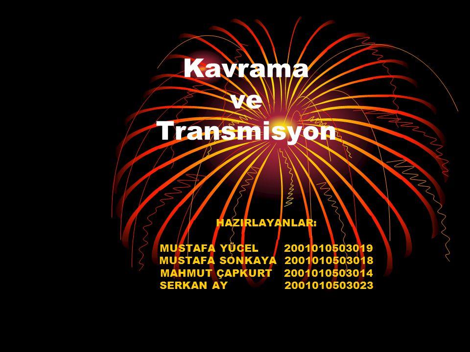 Kavrama ve Transmisyon HAZIRLAYANLAR: MUSTAFA YÜCEL 2001010503019 MUSTAFA SONKAYA 2001010503018 MAHMUT ÇAPKURT 2001010503014 SERKAN AY 2001010503023