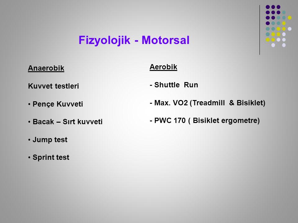 Fizyolojik - Motorsal Anaerobik Kuvvet testleri Pençe Kuvveti Bacak – Sırt kuvveti Jump test Sprint test Aerobik - Shuttle Run - Max. VO2 (Treadmill &