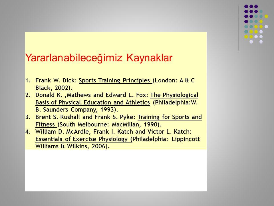 Yararlanabileceğimiz Kaynaklar 1.Frank W. Dick: Sports Training Principles (London: A & C Black, 2002). 2.Donald K.,Mathews and Edward L. Fox: The Phy