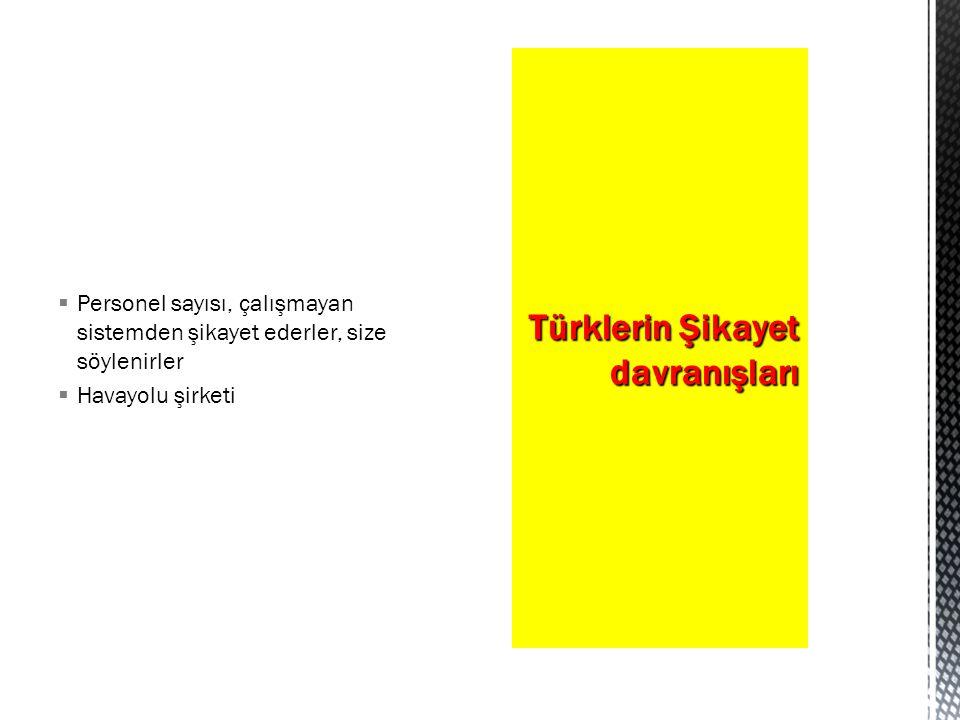  Personel sayısı, çalışmayan sistemden şikayet ederler, size söylenirler  Havayolu şirketi Türklerin Şikayet davranışları