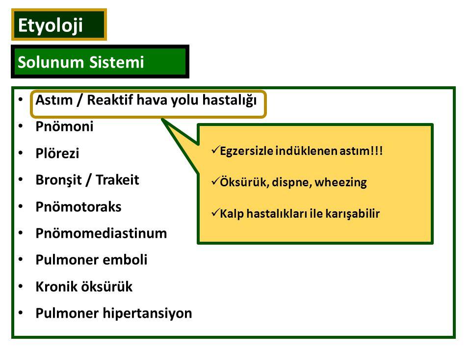 Astım / Reaktif hava yolu hastalığı Pnömoni Plörezi Bronşit / Trakeit Pnömotoraks Pnömomediastinum Pulmoner emboli Kronik öksürük Pulmoner hipertansiy