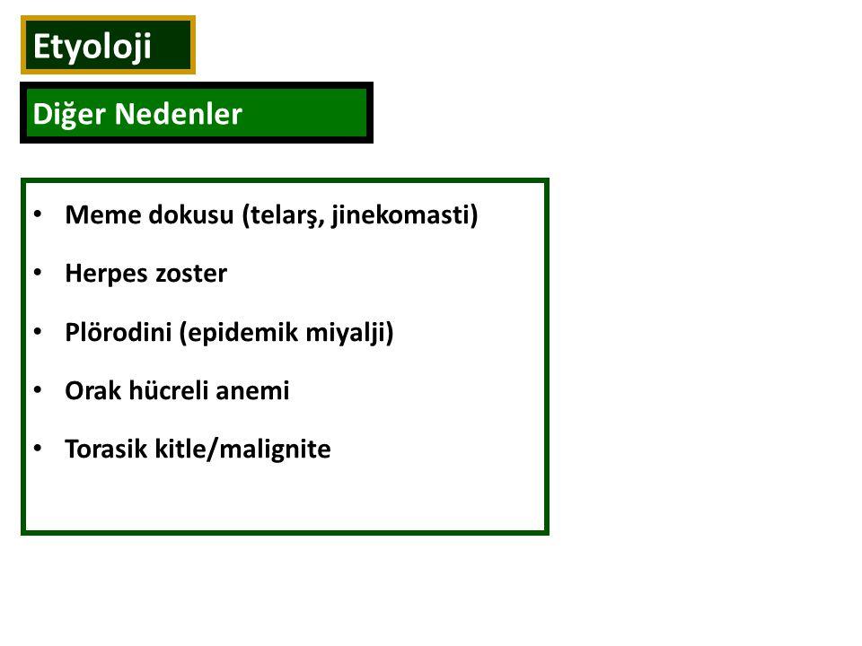 Meme dokusu (telarş, jinekomasti) Herpes zoster Plörodini (epidemik miyalji) Orak hücreli anemi Torasik kitle/malignite Etyoloji Diğer Nedenler