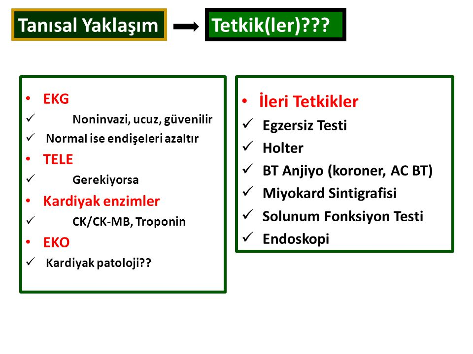 Tanısal Yaklaşım Tetkik(ler)??? EKG Noninvazi, ucuz, güvenilir Normal ise endişeleri azaltır TELE Gerekiyorsa Kardiyak enzimler CK/CK-MB, Troponin EKO