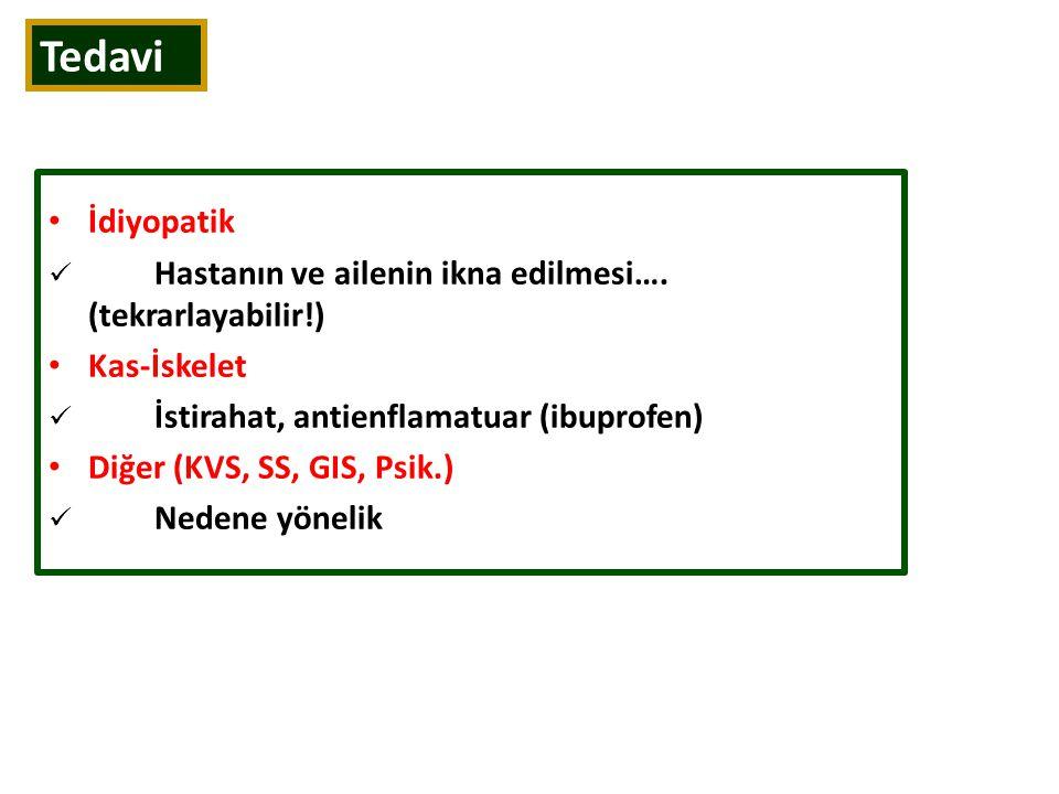 Tedavi İdiyopatik Hastanın ve ailenin ikna edilmesi…. (tekrarlayabilir!) Kas-İskelet İstirahat, antienflamatuar (ibuprofen) Diğer (KVS, SS, GIS, Psik.