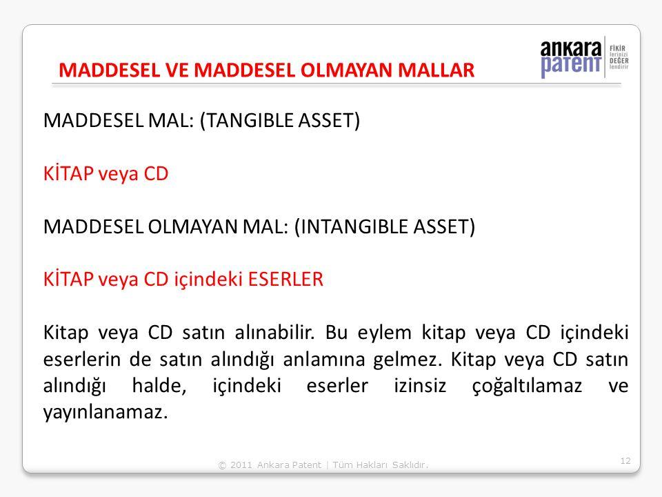 MADDESEL MAL: (TANGIBLE ASSET) KİTAP veya CD MADDESEL OLMAYAN MAL: (INTANGIBLE ASSET) KİTAP veya CD içindeki ESERLER Kitap veya CD satın alınabilir. B