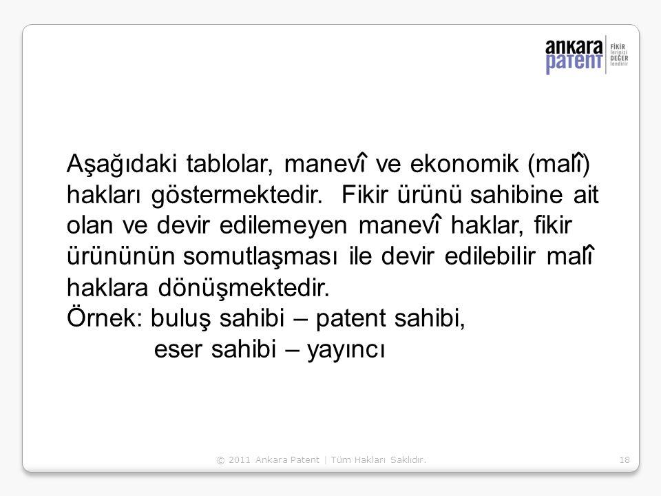 18 Aşağıdaki tablolar, manev î ve ekonomik (mal î ) hakları göstermektedir. Fikir ürünü sahibine ait olan ve devir edilemeyen manev î haklar, fikir ür