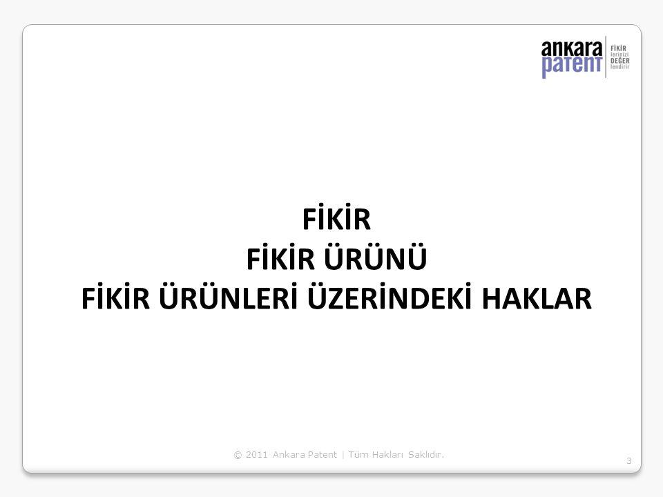 FİKİR FİKİR ÜRÜNÜ FİKİR ÜRÜNLERİ ÜZERİNDEKİ HAKLAR 3 © 2011 Ankara Patent | Tüm Hakları Saklıdır.