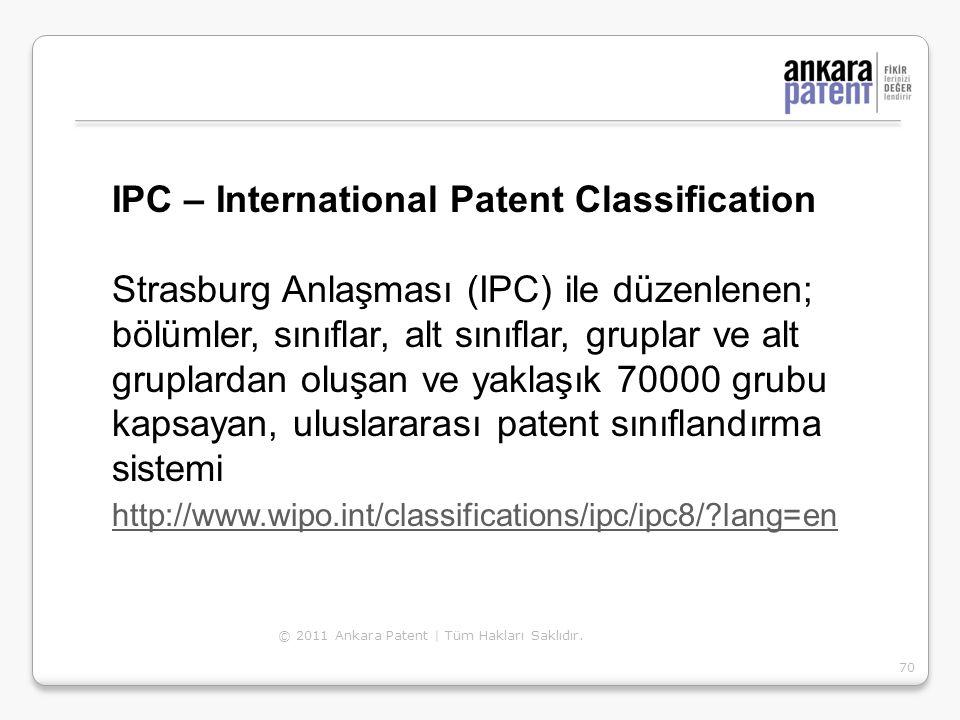 IPC – International Patent Classification Strasburg Anlaşması (IPC) ile düzenlenen; bölümler, sınıflar, alt sınıflar, gruplar ve alt gruplardan oluşa