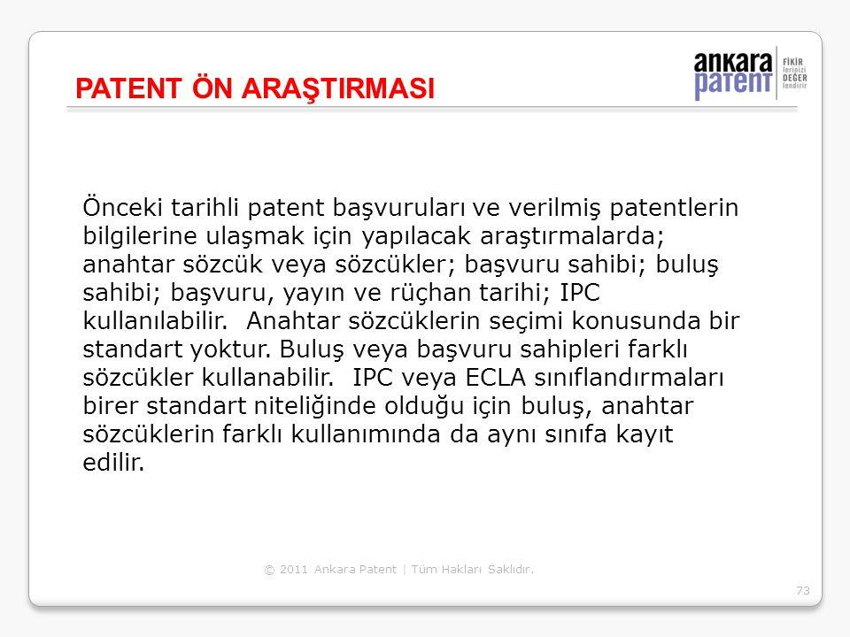 Önceki tarihli patent başvuruları ve verilmiş patentlerin bilgilerine ulaşmak için yapılacak araştırmalarda; anahtar sözcük veya sözcükler; başvuru sa