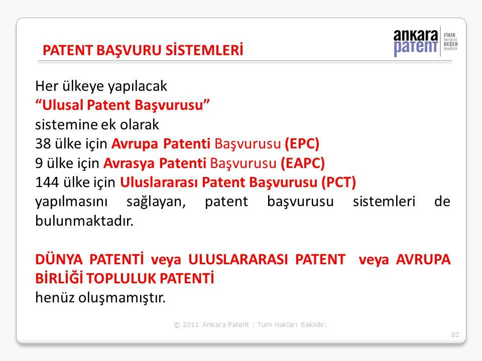 """Her ülkeye yapılacak """"Ulusal Patent Başvurusu"""" sistemine ek olarak 38 ülke için Avrupa Patenti Başvurusu (EPC) 9 ülke için Avrasya Patenti Başvurusu ("""