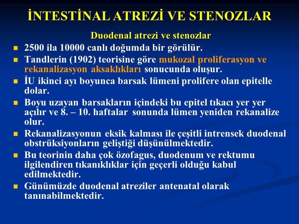 İNTESTİNAL ATREZİ VE STENOZLAR Duodenal atrezi ve stenozlar 2500 ila 10000 canlı doğumda bir görülür. Tandlerin (1902) teorisine göre mukozal prolifer