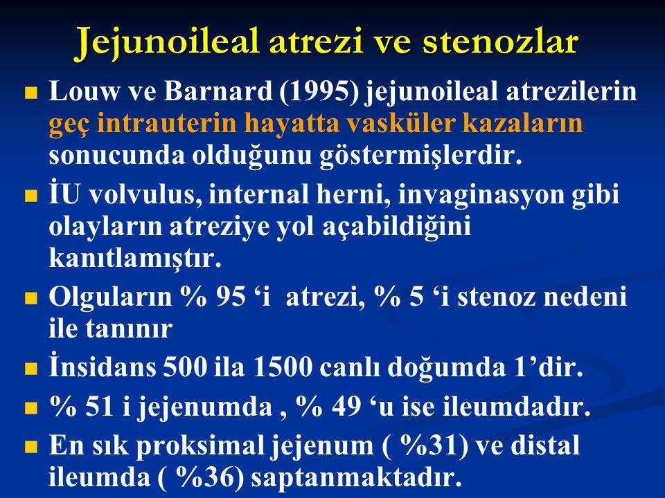Jejunoileal atrezi ve stenozlar Louw ve Barnard (1995) jejunoileal atrezilerin geç intrauterin hayatta vasküler kazaların sonucunda olduğunu göstermiş