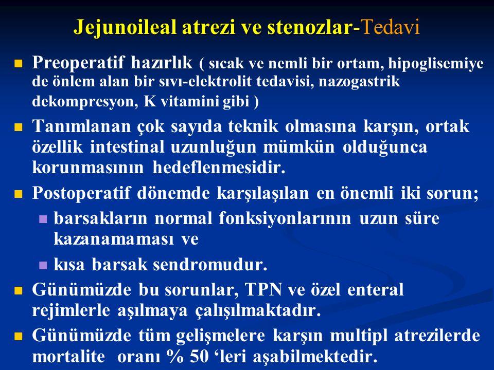 Jejunoileal atrezi ve stenozlar- Jejunoileal atrezi ve stenozlar-Tedavi Preoperatif hazırlık ( sıcak ve nemli bir ortam, hipoglisemiye de önlem alan b