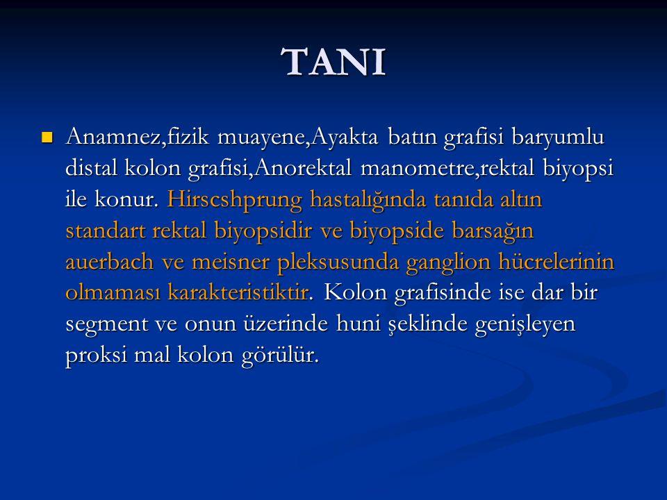 TANI Anamnez,fizik muayene,Ayakta batın grafisi baryumlu distal kolon grafisi,Anorektal manometre,rektal biyopsi ile konur. Hirscshprung hastalığında