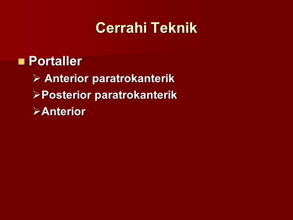 Cerrahi Teknik Portaller Portaller  Anterior paratrokanterik  Posterior paratrokanterik  Anterior