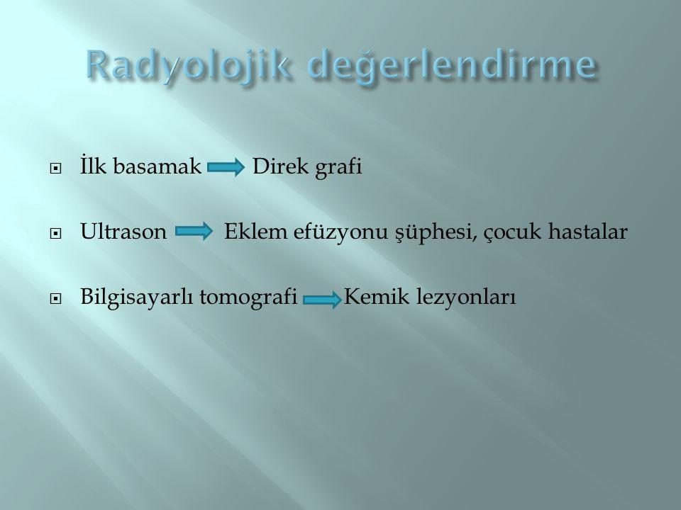 NEDENLERI - İdiyopatik (en sık) - Femur boyun kırığı - Perthes hastalığı hikayesi - Sistemik kortikosteroid kullanımı - RA, SLE - Alkol kullanımı - Böbrek transplantasyonu - Hiperlipidemi - Caisson hastalığı - Orak hücreli anemi - Yanık - Gut - Gebelik - Radyoterapi - Kalça artroplastisi