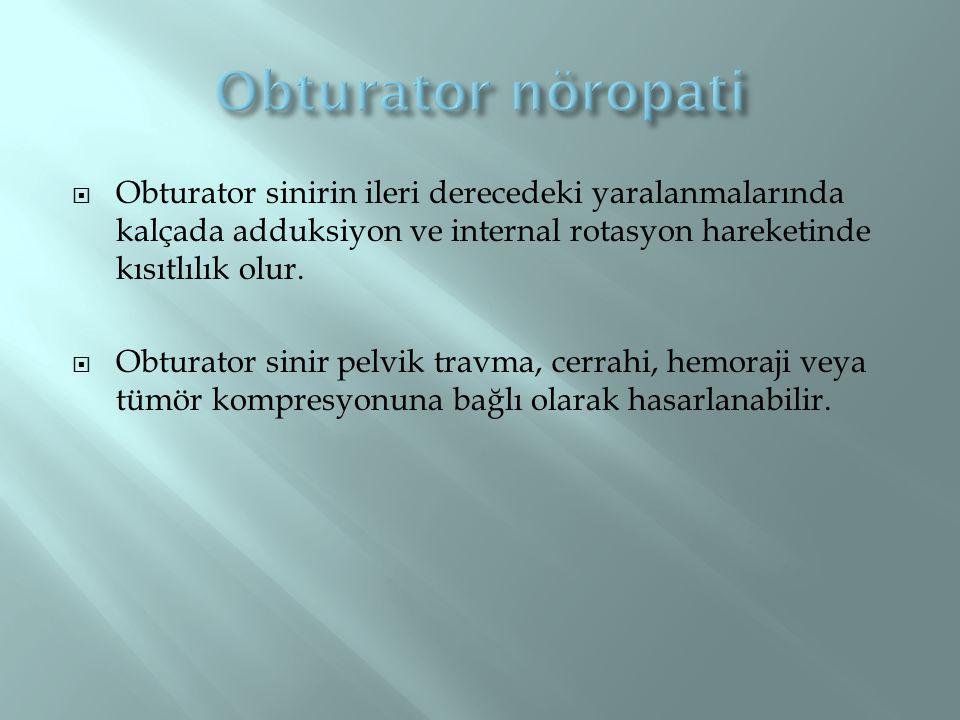  Obturator sinirin ileri derecedeki yaralanmalarında kalçada adduksiyon ve internal rotasyon hareketinde kısıtlılık olur.  Obturator sinir pelvik tr