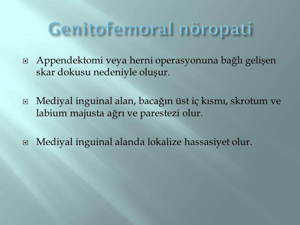  Appendektomi veya herni operasyonuna bağlı gelişen skar dokusu nedeniyle oluşur.  Mediyal inguinal alan, bacağın üst iç kısmı, skrotum ve labium ma