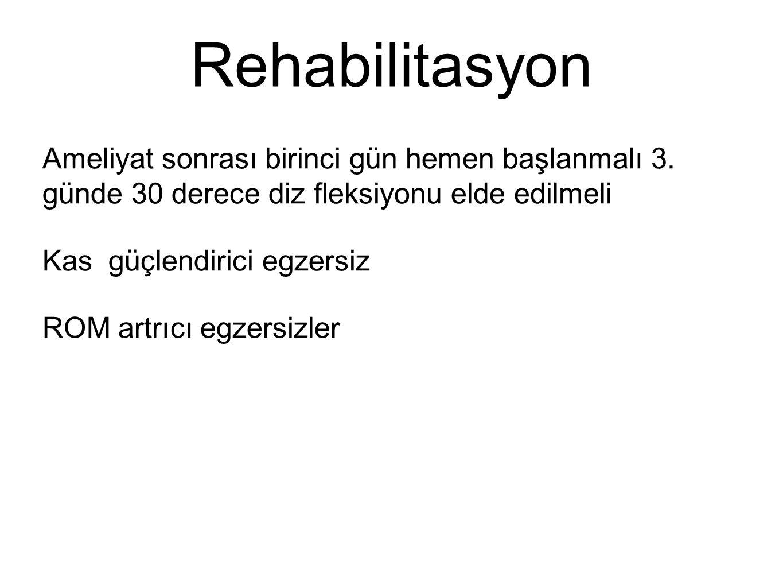 Rehabilitasyon Ameliyat sonrası birinci gün hemen başlanmalı 3. günde 30 derece diz fleksiyonu elde edilmeli Kas güçlendirici egzersiz ROM artrıcı egz