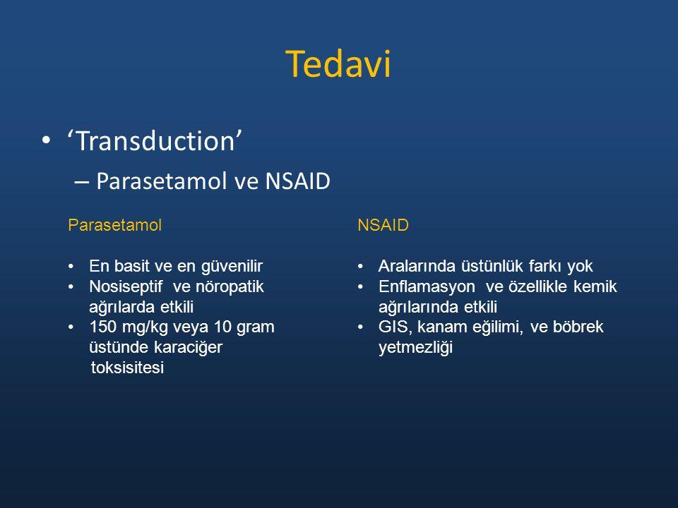 'Transduction' – Parasetamol ve NSAID Tedavi Parasetamol En basit ve en güvenilir Nosiseptif ve nöropatik ağrılarda etkili 150 mg/kg veya 10 gram üstünde karaciğer toksisitesi NSAID Aralarında üstünlük farkı yok Enflamasyon ve özellikle kemik ağrılarında etkili GIS, kanam eğilimi, ve böbrek yetmezliği
