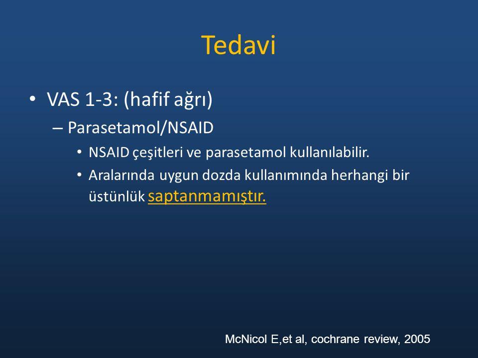 Tedavi VAS 1-3: (hafif ağrı) – Parasetamol/NSAID NSAID çeşitleri ve parasetamol kullanılabilir. Aralarında uygun dozda kullanımında herhangi bir üstün