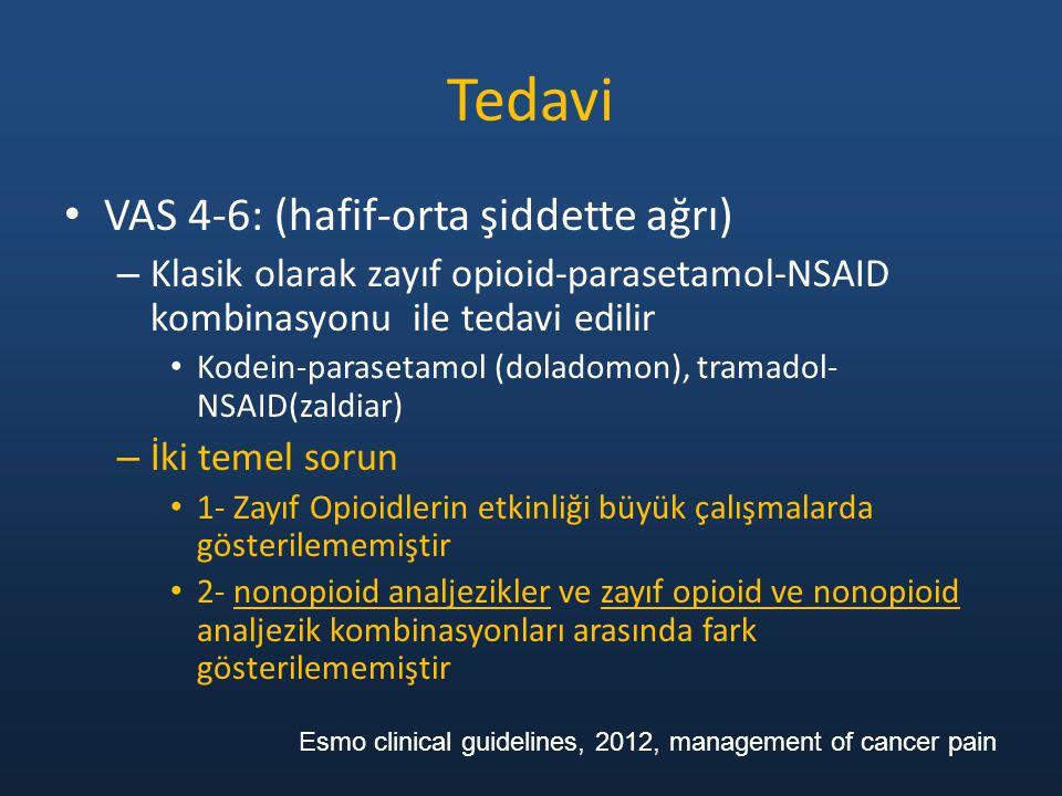 Tedavi VAS 4-6: (hafif-orta şiddette ağrı) – Klasik olarak zayıf opioid-parasetamol-NSAID kombinasyonu ile tedavi edilir Kodein-parasetamol (doladomon), tramadol- NSAID(zaldiar) – İki temel sorun 1- Zayıf Opioidlerin etkinliği büyük çalışmalarda gösterilememiştir 2- nonopioid analjezikler ve zayıf opioid ve nonopioid analjezik kombinasyonları arasında fark gösterilememiştir Esmo clinical guidelines, 2012, management of cancer pain