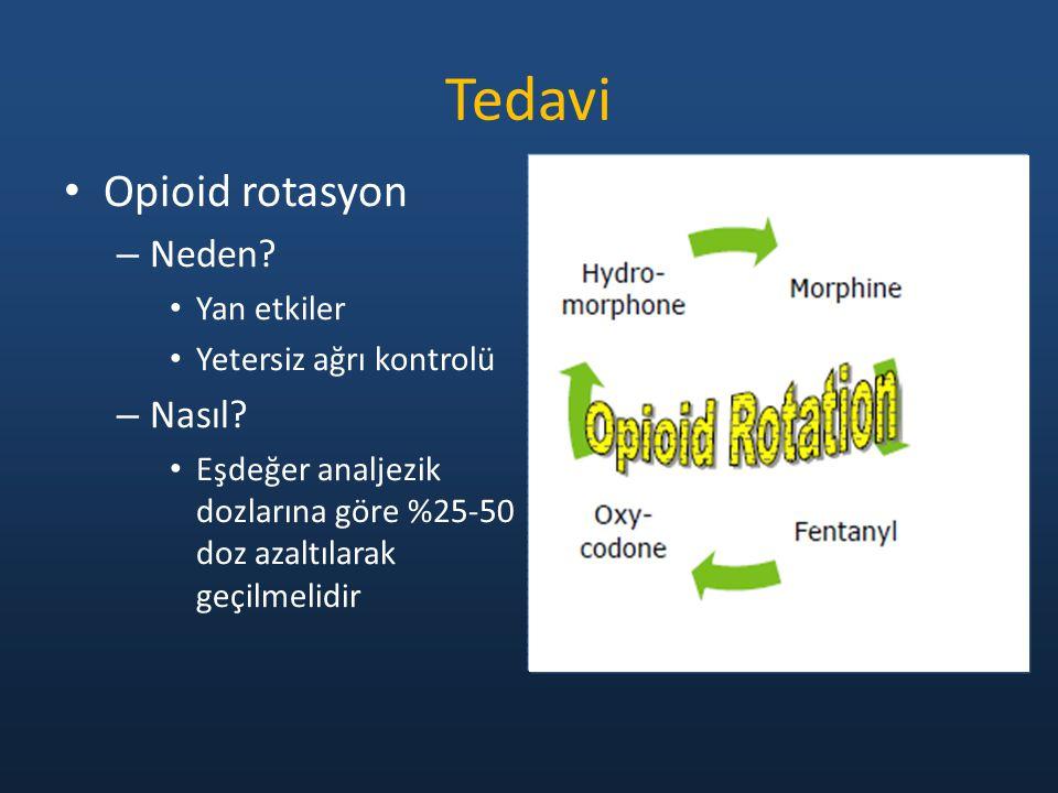 Opioid rotasyon – Neden? Yan etkiler Yetersiz ağrı kontrolü – Nasıl? Eşdeğer analjezik dozlarına göre %25-50 doz azaltılarak geçilmelidir Tedavi