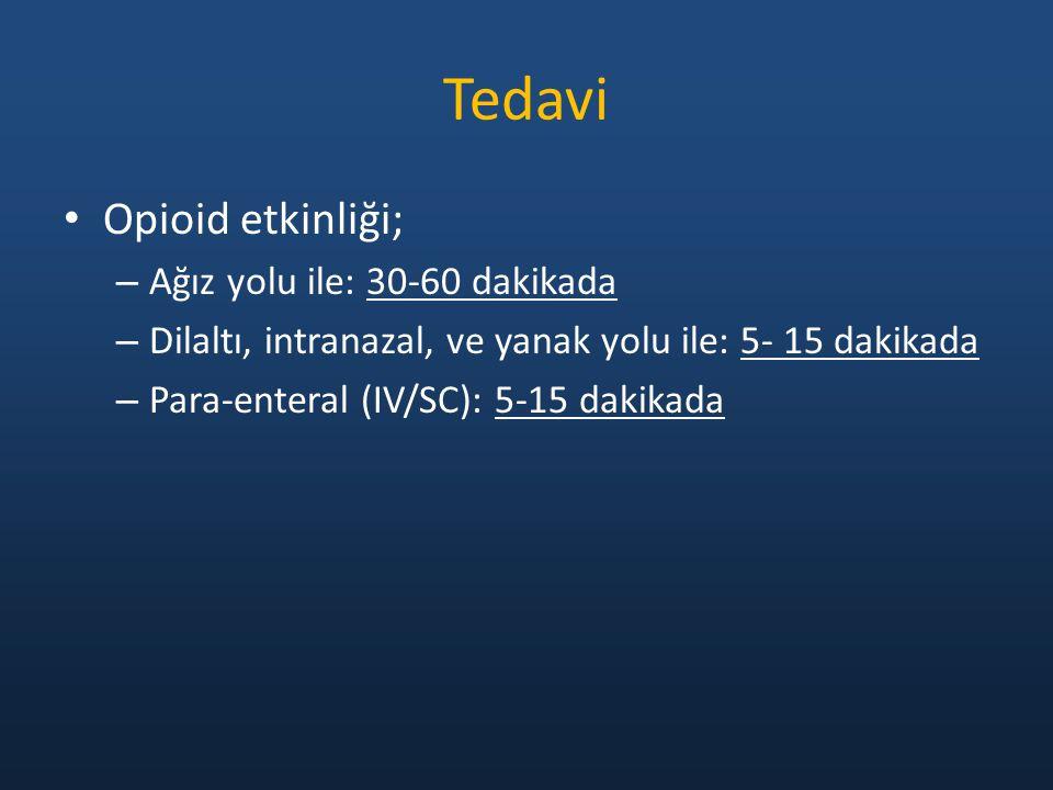 Tedavi Opioid etkinliği; – Ağız yolu ile: 30-60 dakikada – Dilaltı, intranazal, ve yanak yolu ile: 5- 15 dakikada – Para-enteral (IV/SC): 5-15 dakikada