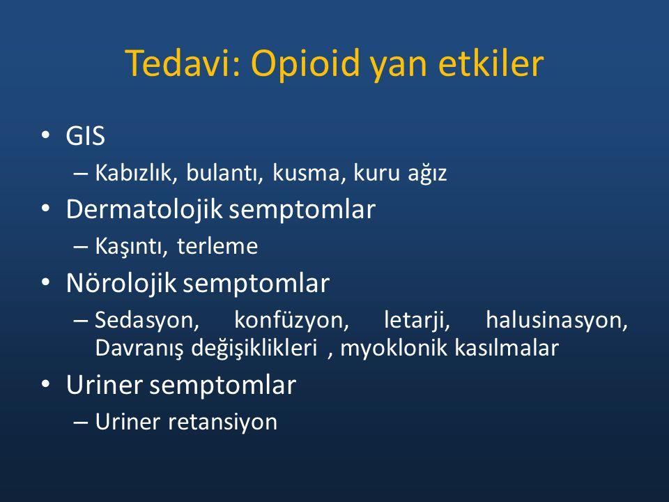 Tedavi: Opioid yan etkiler GIS – Kabızlık, bulantı, kusma, kuru ağız Dermatolojik semptomlar – Kaşıntı, terleme Nörolojik semptomlar – Sedasyon, konfüzyon, letarji, halusinasyon, Davranış değişiklikleri, myoklonik kasılmalar Uriner semptomlar – Uriner retansiyon