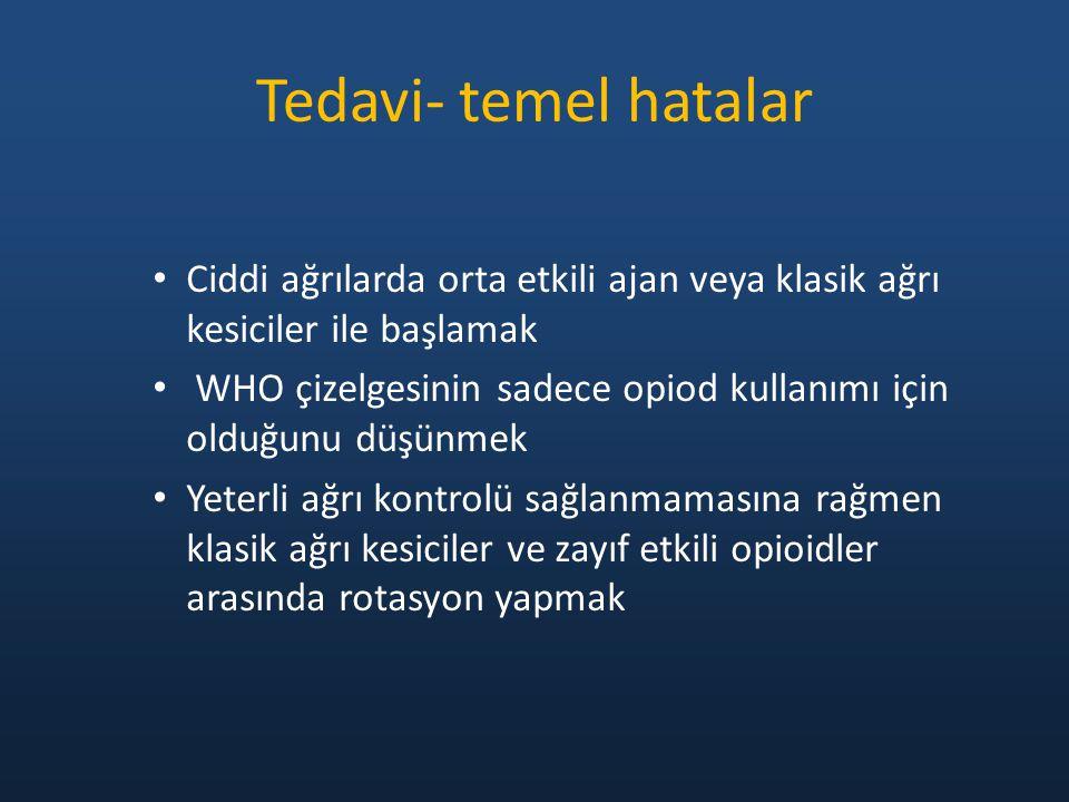 Tedavi- temel hatalar Ciddi ağrılarda orta etkili ajan veya klasik ağrı kesiciler ile başlamak WHO çizelgesinin sadece opiod kullanımı için olduğunu d