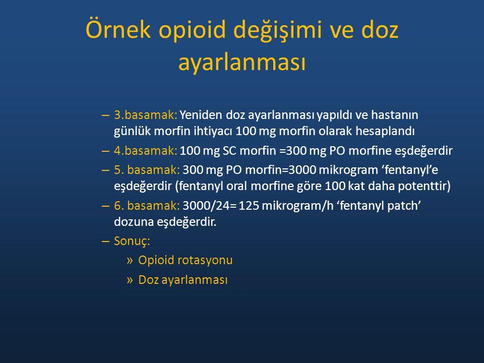 – 3.basamak: Yeniden doz ayarlanması yapıldı ve hastanın günlük morfin ihtiyacı 100 mg morfin olarak hesaplandı – 4.basamak: 100 mg SC morfin =300 mg
