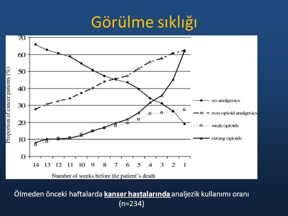 Ölmeden önceki haftalarda kanser hastalarında analjezik kullanımı oranı (n=234) Görülme sıklığı