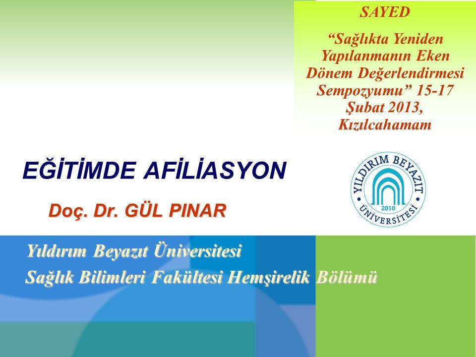 """EĞİTİMDE AFİLİASYON Doç. Dr. GÜL PINAR SAYED """"Sağlıkta Yeniden Yapılanmanın Eken Dönem Değerlendirmesi Sempozyumu"""" 15-17 Şubat 2013, Kızılcahamam Yıld"""