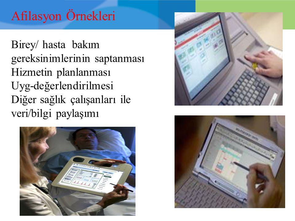 Afilasyon Örnekleri Birey/ hasta bakım gereksinimlerinin saptanması Hizmetin planlanması Uyg-değerlendirilmesi Diğer sağlık çalışanları ile veri/bilgi