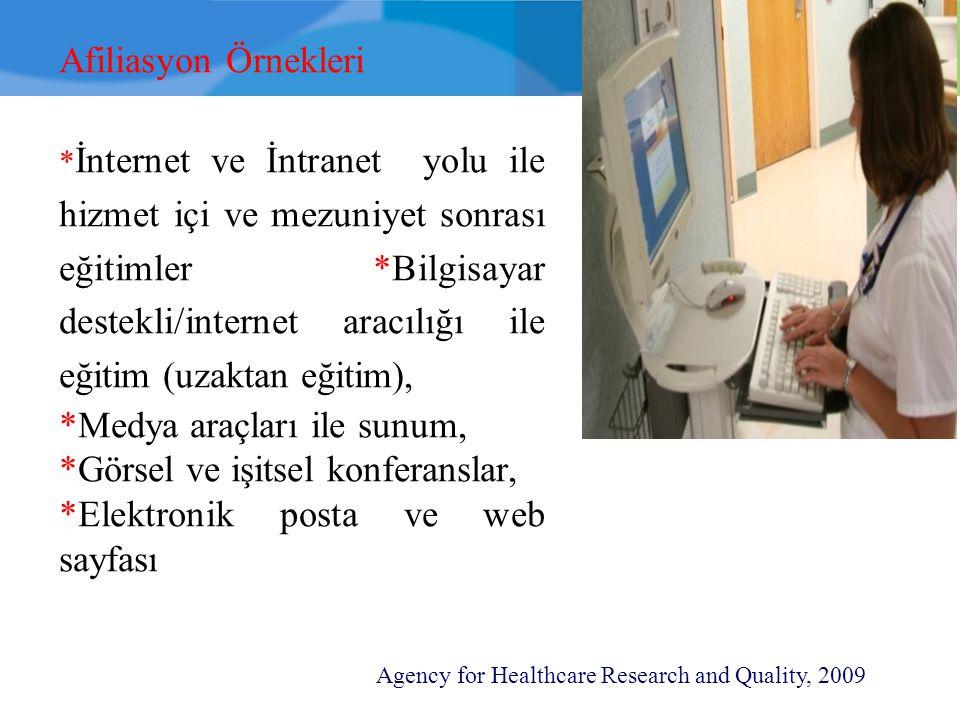 Afiliasyon Örnekleri * İnternet ve İntranet yolu ile hizmet içi ve mezuniyet sonrası eğitimler *Bilgisayar destekli/internet aracılığı ile eğitim (uza