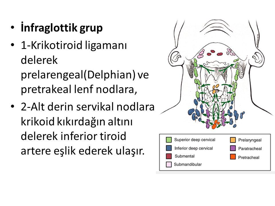 İnfraglottik grup 1-Krikotiroid ligamanı delerek prelarengeal(Delphian) ve pretrakeal lenf nodlara, 2-Alt derin servikal nodlara krikoid kıkırdağın al