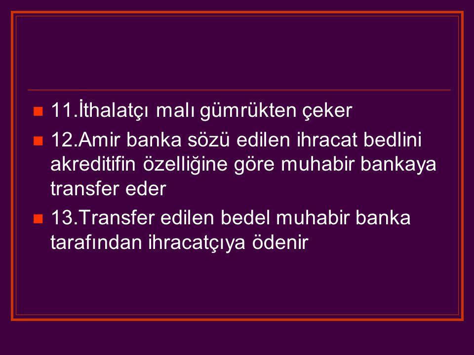 11.İthalatçı malı gümrükten çeker 12.Amir banka sözü edilen ihracat bedlini akreditifin özelliğine göre muhabir bankaya transfer eder 13.Transfer edilen bedel muhabir banka tarafından ihracatçıya ödenir