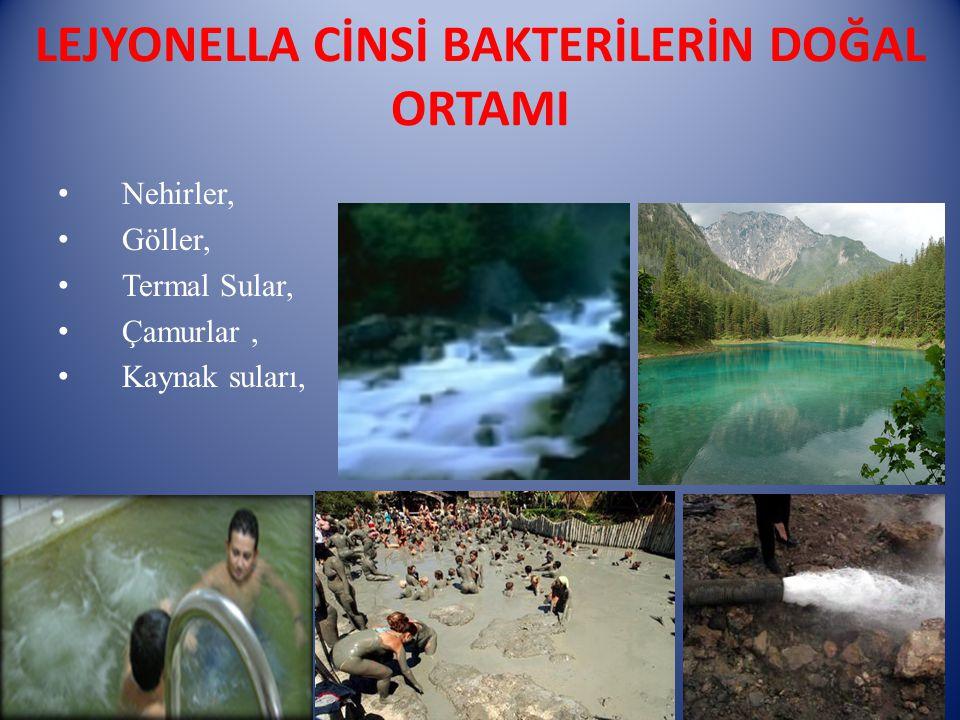 LEJYONELLA CİNSİ BAKTERİLERİN DOĞAL ORTAMI Nehirler, Göller, Termal Sular, Çamurlar, Kaynak suları,