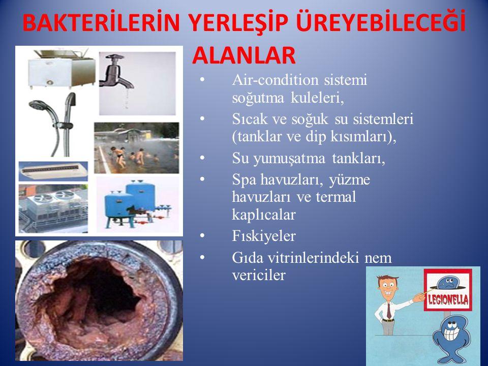 BAKTERİLERİN YERLEŞİP ÜREYEBİLECEĞİ ALANLAR Air-condition sistemi soğutma kuleleri, Sıcak ve soğuk su sistemleri (tanklar ve dip kısımları), Su yumuşa
