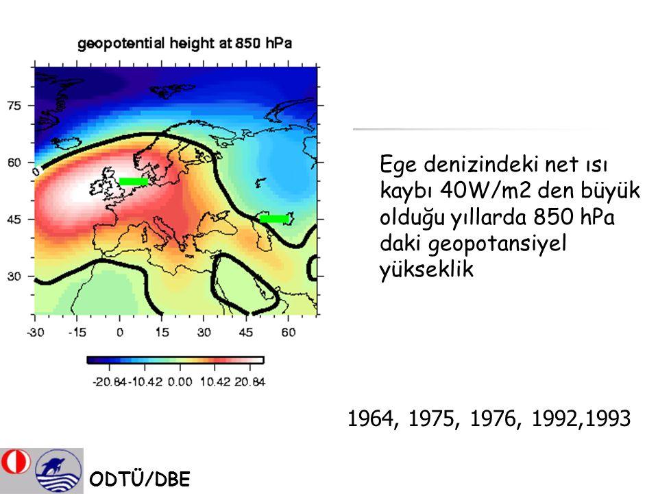 Ege denizindeki net ısı kaybı 40W/m2 den büyük olduğu yıllarda 850 hPa daki geopotansiyel yükseklik ODTÜ/DBE 1964, 1975, 1976, 1992,1993
