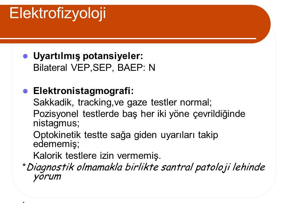 Elektrofizyoloji Uyartılmış potansiyeler: Bilateral VEP,SEP, BAEP: N Elektronistagmografi: Sakkadik, tracking,ve gaze testler normal; Pozisyonel testl