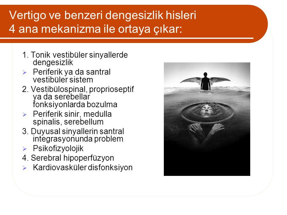 Vertigo ve benzeri dengesizlik hisleri 4 ana mekanizma ile ortaya çıkar: 1. Tonik vestibüler sinyallerde dengesizlik  Periferik ya da santral vestibü