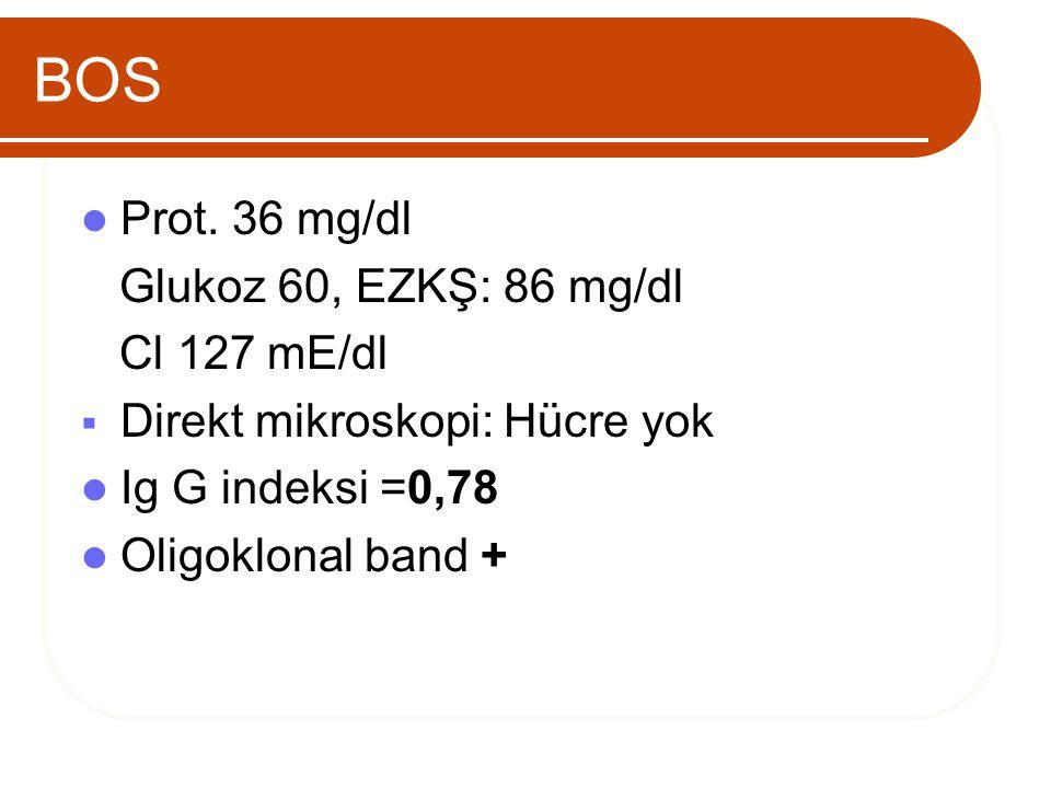 BOS Prot. 36 mg/dl Glukoz 60, EZKŞ: 86 mg/dl Cl 127 mE/dl  Direkt mikroskopi: Hücre yok Ig G indeksi =0,78 Oligoklonal band +