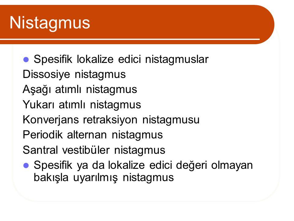 Nistagmus Spesifik lokalize edici nistagmuslar Dissosiye nistagmus Aşağı atımlı nistagmus Yukarı atımlı nistagmus Konverjans retraksiyon nistagmusu Pe