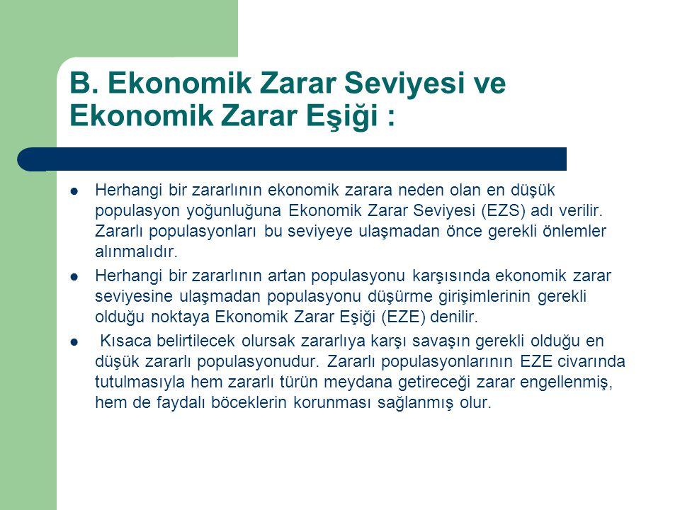 B. Ekonomik Zarar Seviyesi ve Ekonomik Zarar Eşiği : Herhangi bir zararlının ekonomik zarara neden olan en düşük populasyon yoğunluğuna Ekonomik Zarar