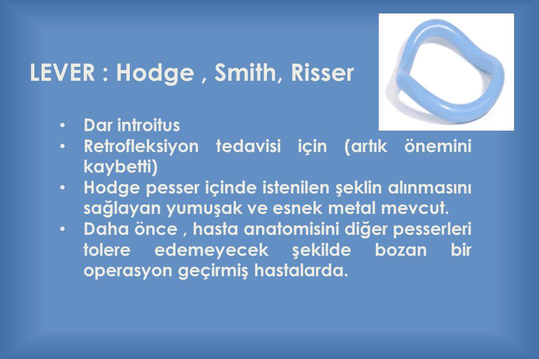 LEVER : Hodge, Smith, Risser Dar introitus Retrofleksiyon tedavisi için (artık önemini kaybetti) Hodge pesser içinde istenilen şeklin alınmasını sağla