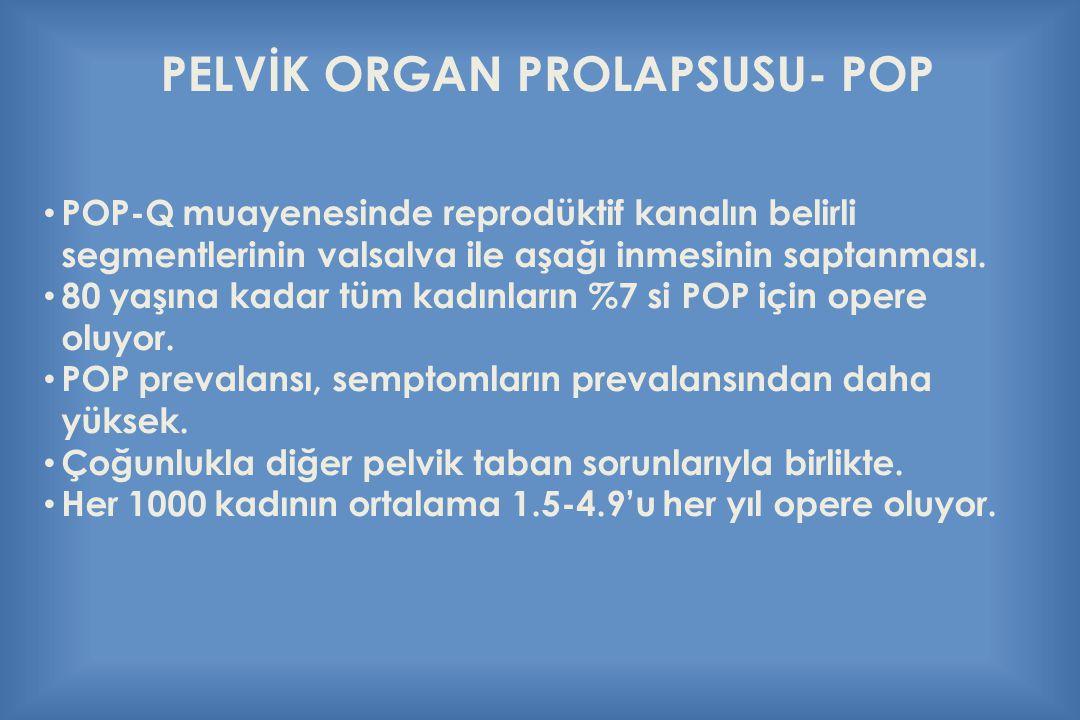 PELVİK ORGAN PROLAPSUSU- POP POP-Q muayenesinde reprodüktif kanalın belirli segmentlerinin valsalva ile aşağı inmesinin saptanması. 80 yaşına kadar tü