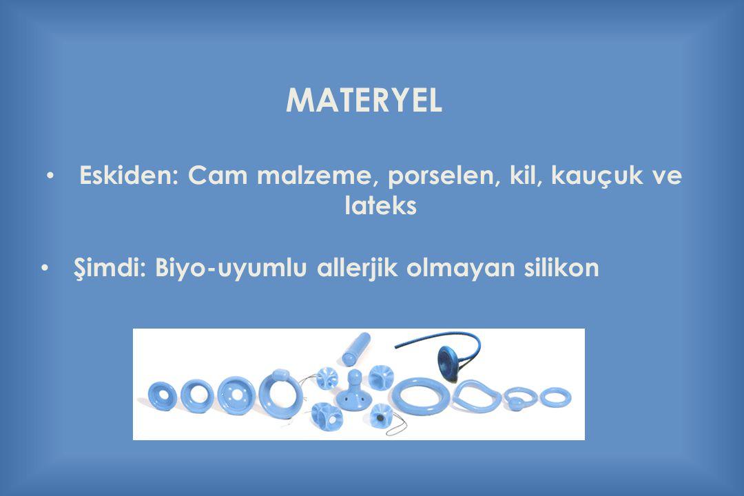 MATERYEL Eskiden: Cam malzeme, porselen, kil, kauçuk ve lateks Şimdi: Biyo-uyumlu allerjik olmayan silikon