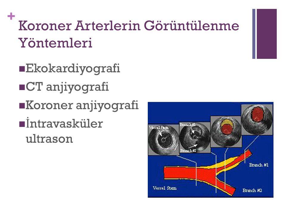 + Koroner Arterlerin Görüntülenme Yöntemleri Ekokardiyografi CT anjiyografi Koroner anjiyografi İ ntravasküler ultrason